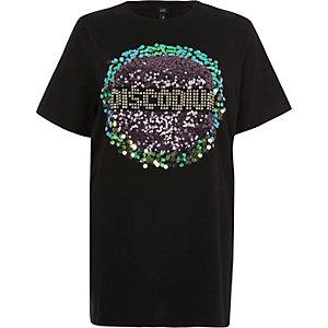 Black 'disco' sequin boyfriend T-shirt