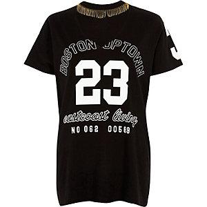 26c966d1b9a71 T-shirt imprimé « 23 » noir avec ras-de-cou