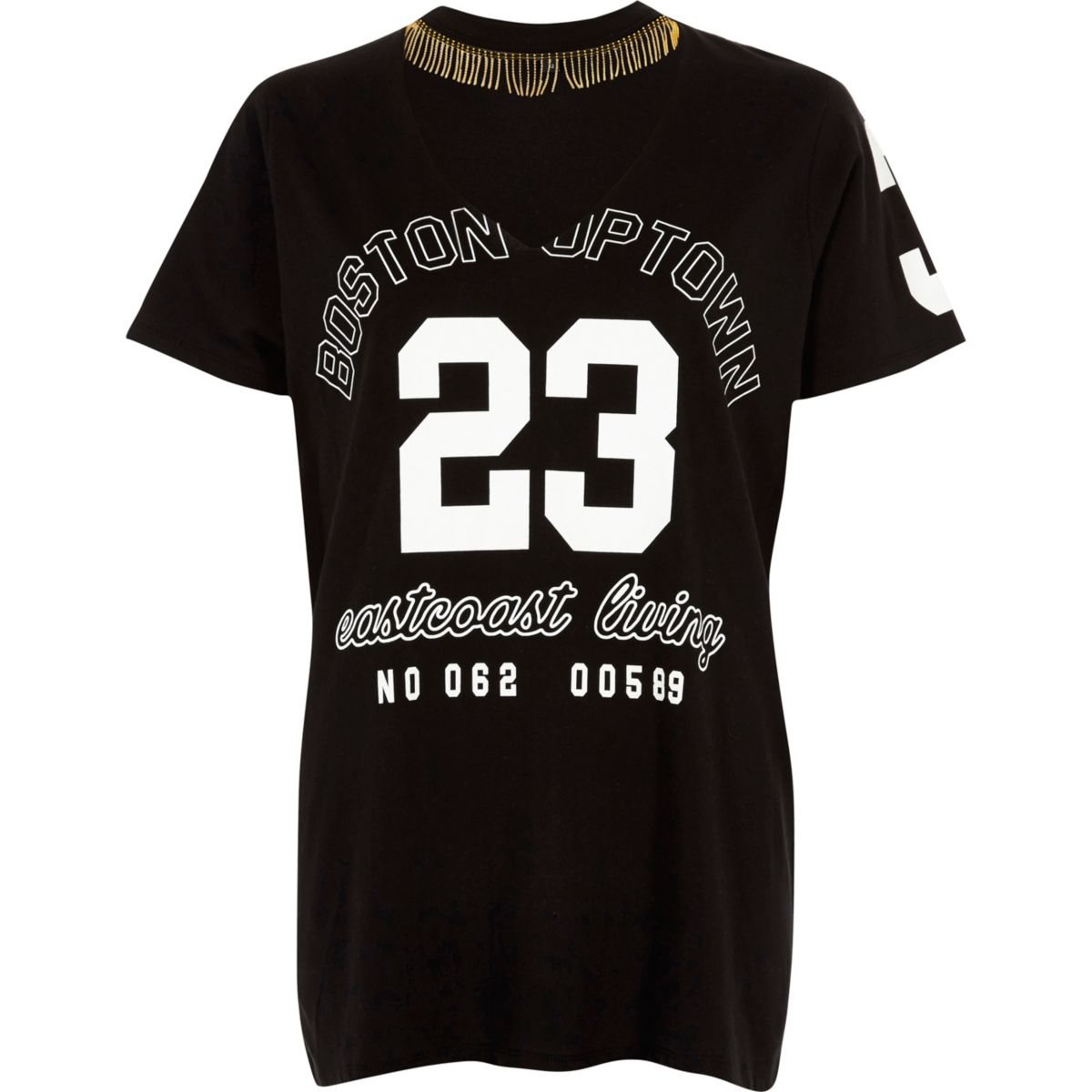 Black '23' print choker necklace T-shirt