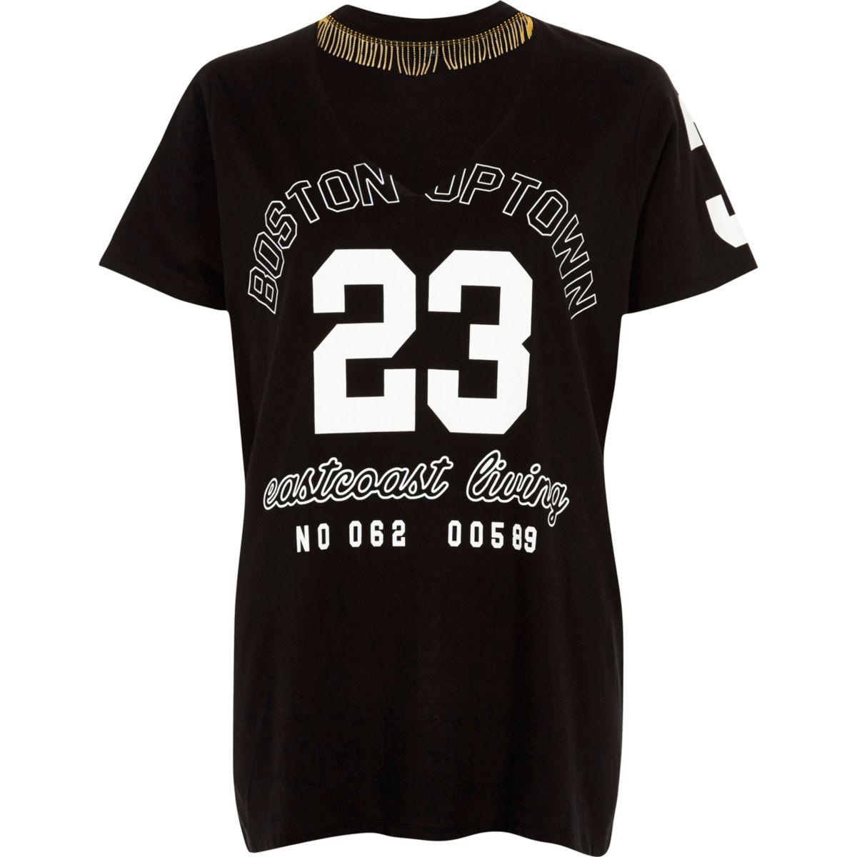 T-shirt imprimé «23» noir avec ras-de-cou