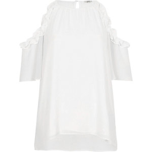 White frill cold shoulder blouse