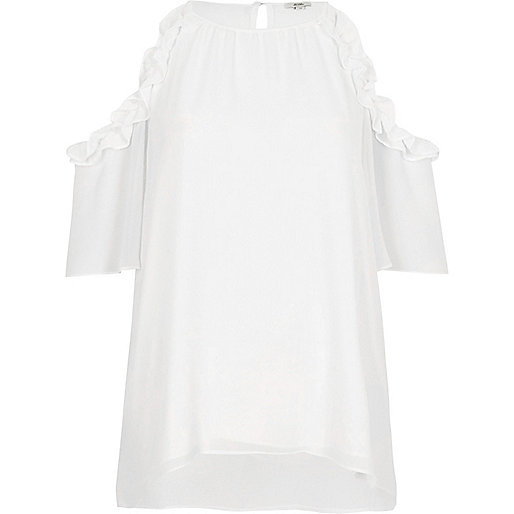 White frill cold shoulder blouse