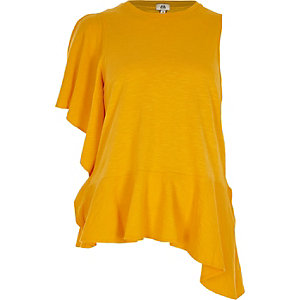 Yellow asymmetric frill tank top