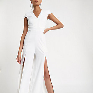 Cream cap sleeve wide split leg jumpsuit