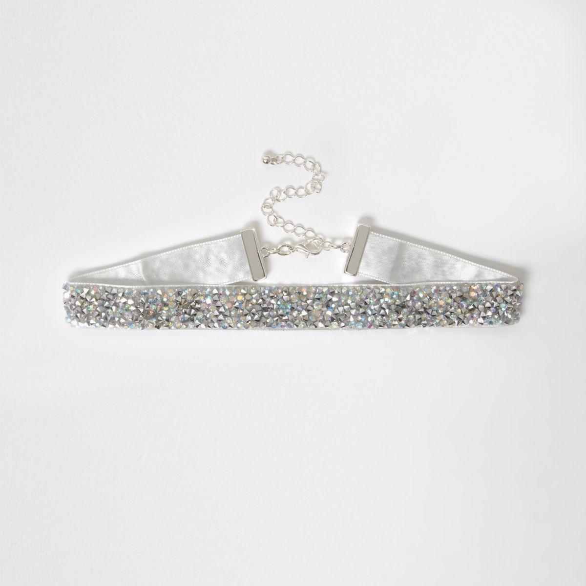 Silver tone diamante embellished choker