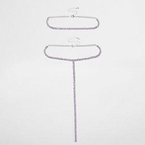 Parure ras-de-cou et pendentif à maillons violets