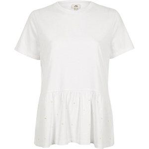 Weißes Schößchen-T-Shirt mit Perlenverzierung