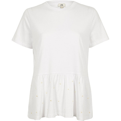 White faux pearl embellished peplum T-shirt