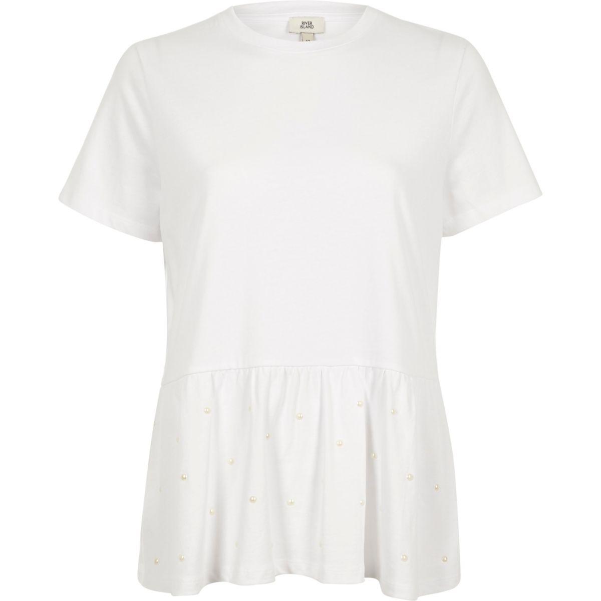 White faux pearl embellished peplum T-shirt