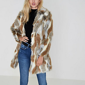 Beige animal print faux fur coat