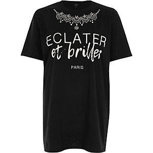 Schwarzes Boyfriend-T-Shirt mit Print