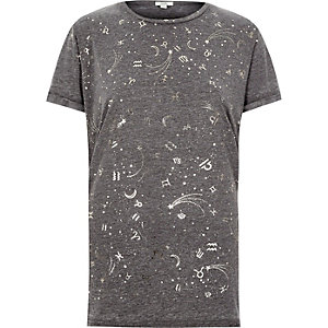 Grey burnout star sign boyfriend T-shirt