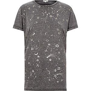 Grijs burnout boyfriend T-shirt met sterrenbeelden