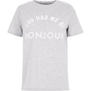 Grey 'you had me at bonjour' print T-shirt