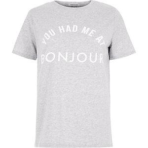 Grey 'you had me at bonjour' print T-shirt