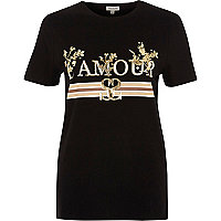 Black 'l'amour' foil metallic print T-shirt