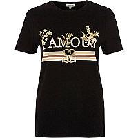 """T-Shirt mit """"l'amour""""-Folienprint in Metallic"""