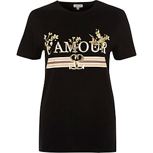 Zwart T-shirt met metallic 'l'amour'-folieprint
