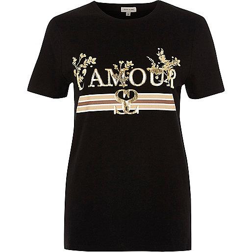 T-shirt à imprimé métallisé « l'amour » noir