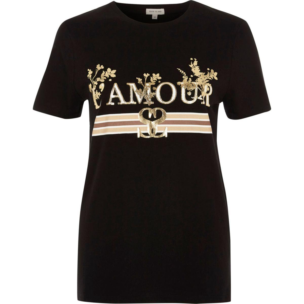 Black l amour foil metallic print t shirt print t for Foil print t shirts custom