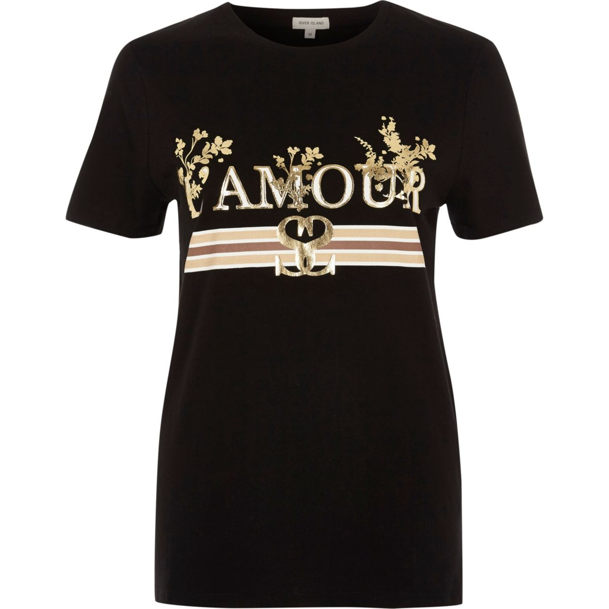 Black 'l'amour' foil metallic print T-shirt