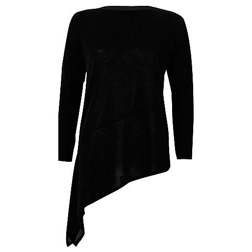 Black asymmetric hem long sleeve top
