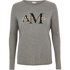 Grey 'aime moi' print long sleeve T-shir