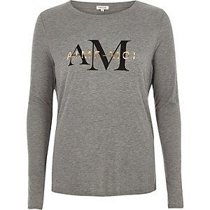 T-shirt imprimé «aime-moi» gris à manches longues