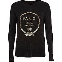 Black 'Paris' foil long sleeve T-shirt