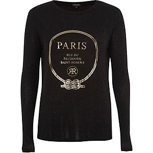 T-shirt «Paris» métallisé noir à manches longues