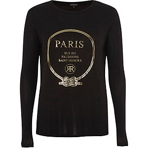 Zwart T-shirt met lange mouwen en 'Paris'-folieprint