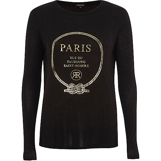 Black 'Paris' foil long sleeve T-shirt