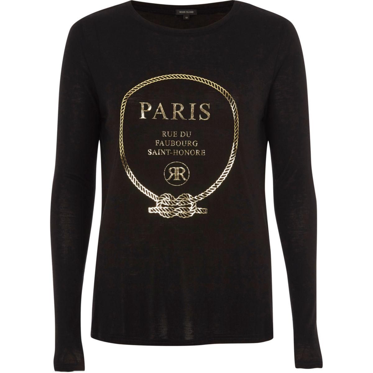 "Schwarzes, langärmliges T-Shirt ""Paris"""