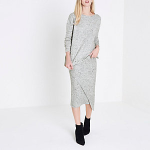 Grey asymmetric ripped hem jumper