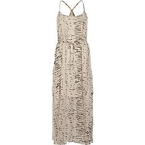 Cream abstract print maxi slip dress
