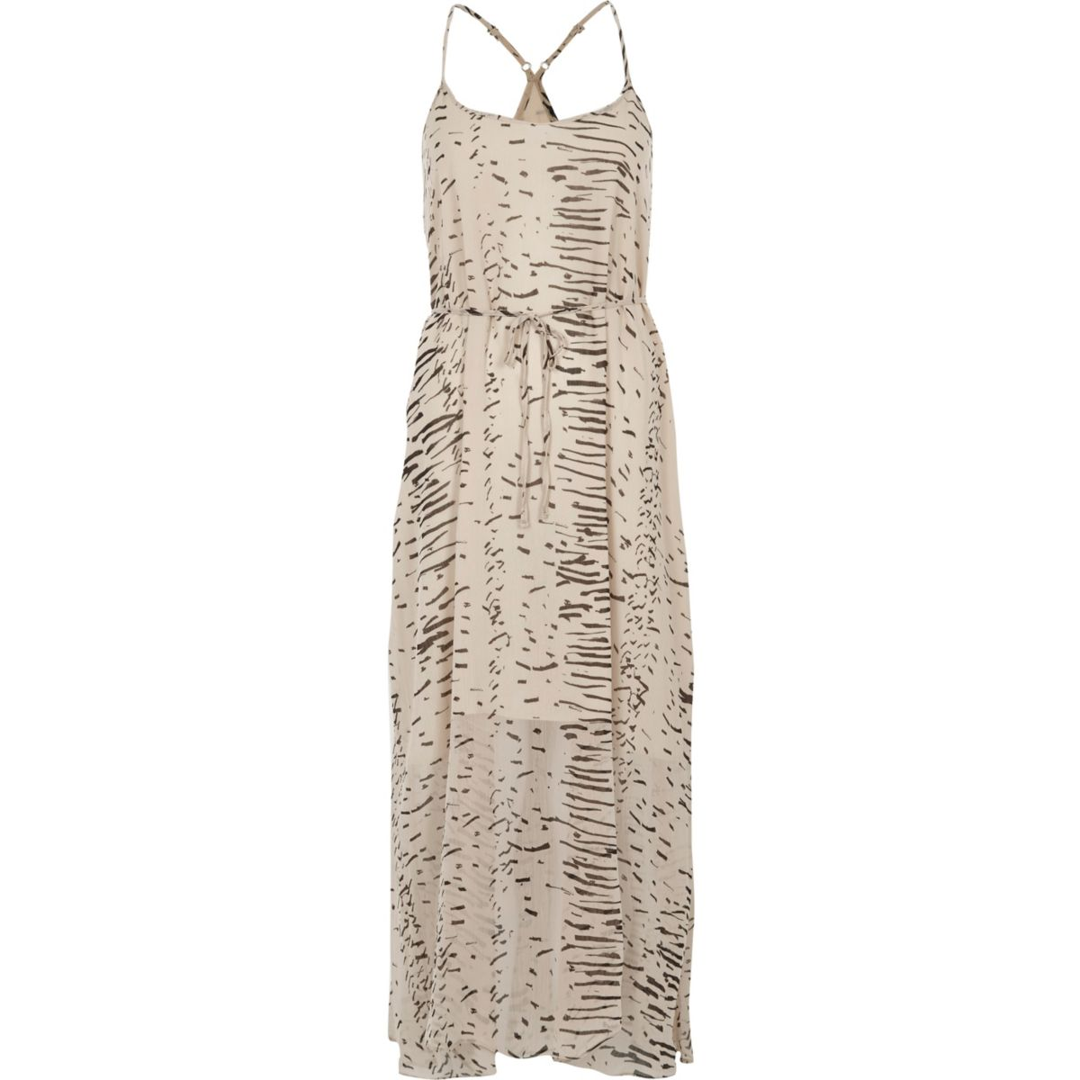 Cream abstract print maxi slip dress