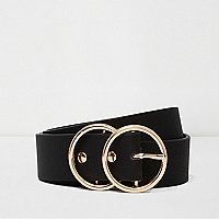 Black gold tone double ring belt