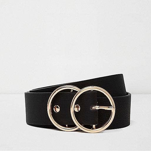 Ceinture noire avec deux anneaux dorés