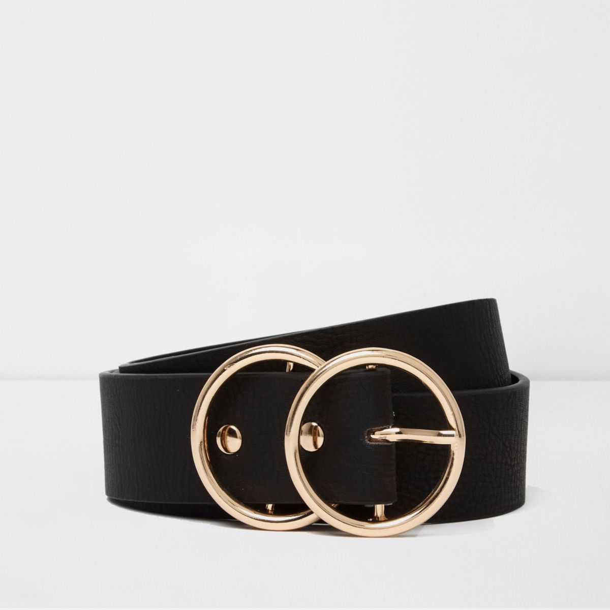 Black gold tone double ring belt