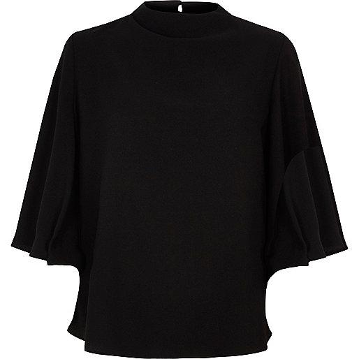 Black open back flare sleeve top