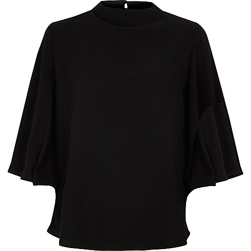 Black open back flare sleeve top