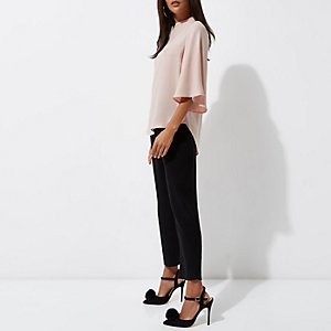 Pink flared sleeve high neck top