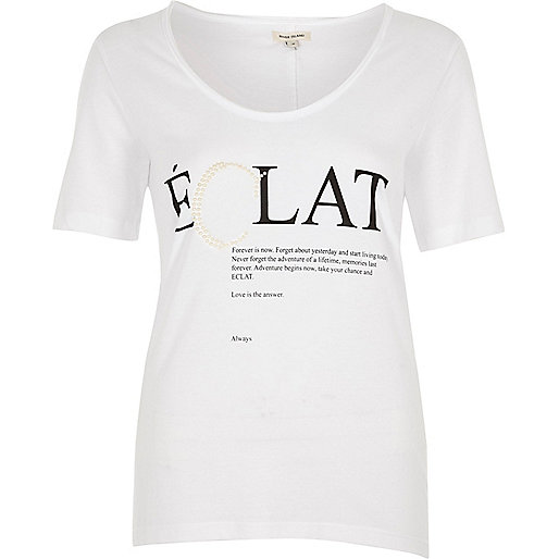 White 'Eclat' pearl scoop neck T-shirt