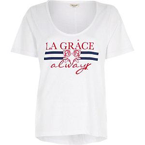 White 'la grace' scoop neck T-shirt