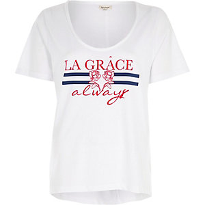 "Weißes T-Shirt ""La Grace"" mit U-Ausschnitt"