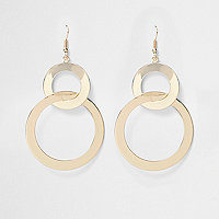 Gold tone double hoop link earrings