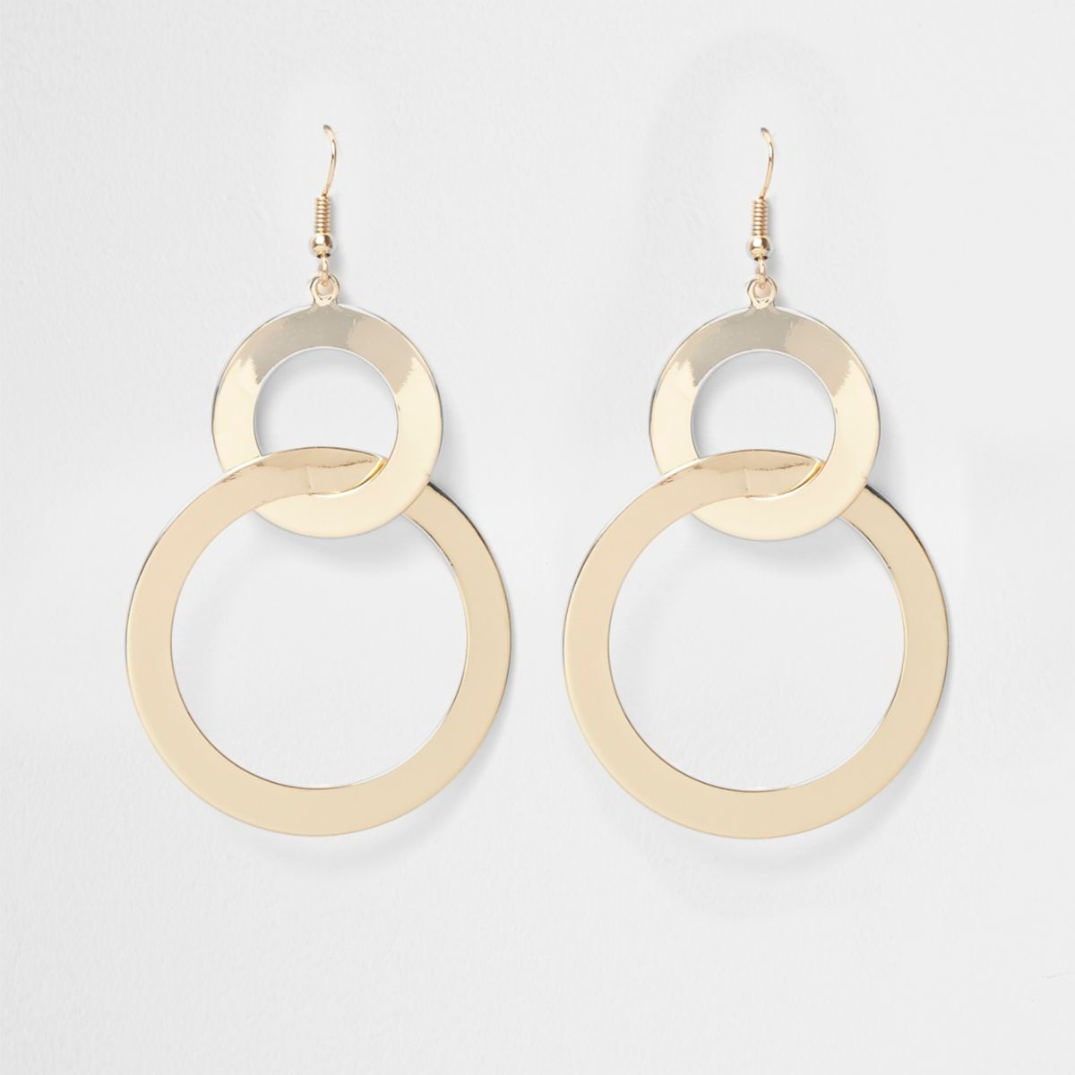 Gold tone double hoop link earrings
