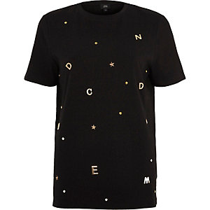 Black gold tone letter embellished T-shirt