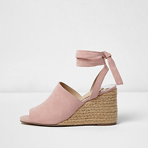 Pink tie up espadrille wedges