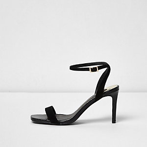 Black barely there strappy court heel sandals